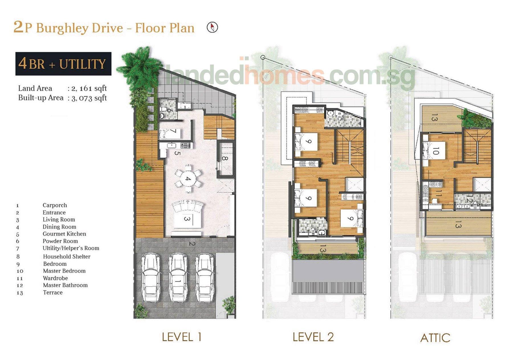 2P Burghley Drive Floor Plan